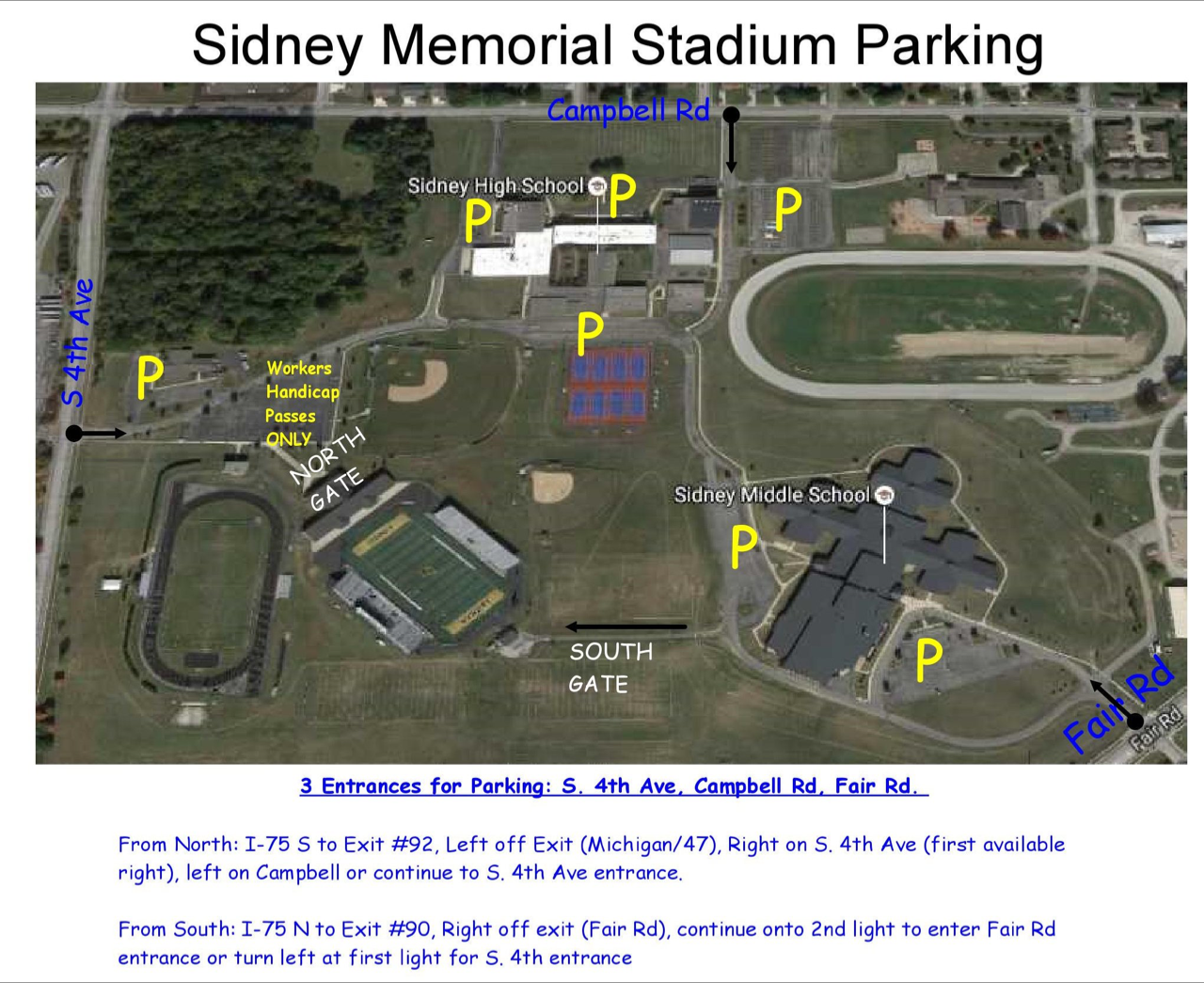 Sidney City Schools Athletic Facilities Parking Map