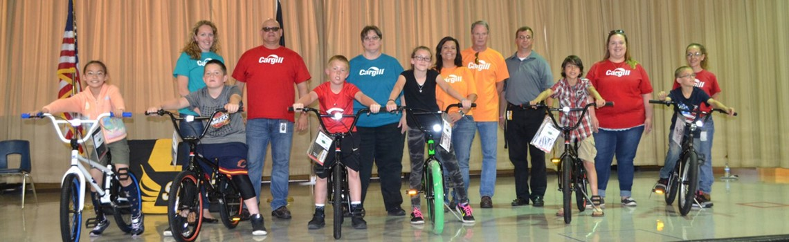 Fourth grade students with perfect attendance earned a bike from Cargill.