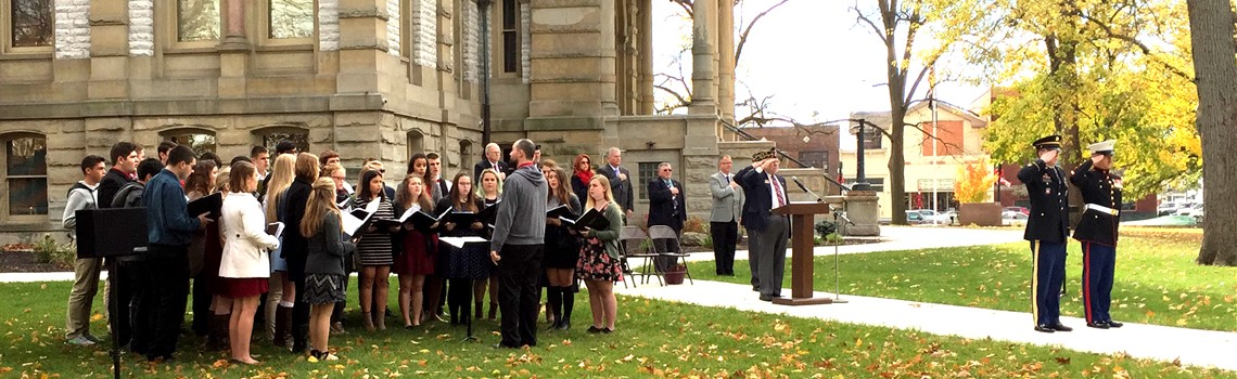 Experience Sidney City Schools - The Sidney High School choir participates in the Veterans Day ceremony on the square.