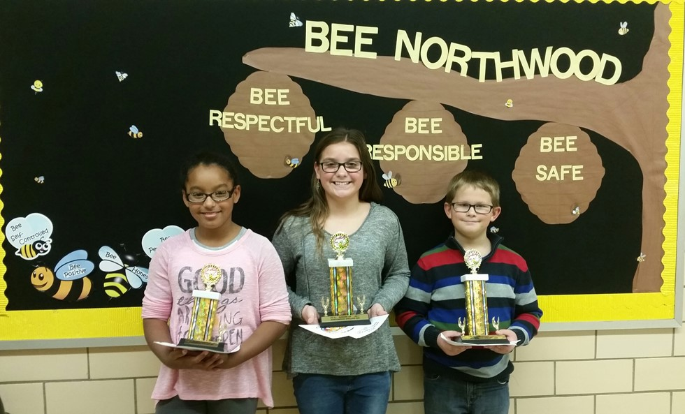 Spelling Bee winners L to R: Kyla Rush (2nd runner-up), Rocelyn Cathcart (1st runner-up) & Keegan Conley (champion)