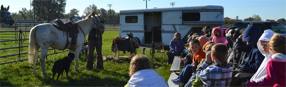 Emerson Elementary students learn about horses.